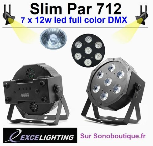Projecteur Par Slim 712 Excelighting 7x12w PRO